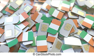 Many SIM cards with flag of Ireland, Irish mobile telecommunications related 3D rendering