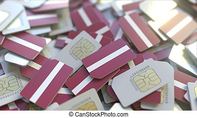 Many SIM cards with flag of Latvia. Latvian mobile telecommunications related 3D rendering