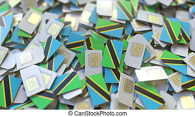 Many SIM cards with flag of Tanzania. Tanzanian mobile telecommunications related 3D rendering