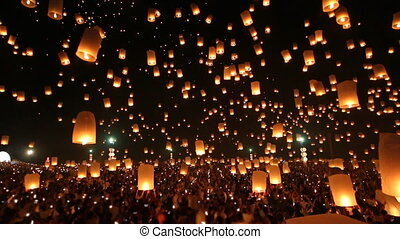 Many Sky Fire Lanterns Of Thailand