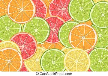 many slices of citrus lime orange lemon grapefruit