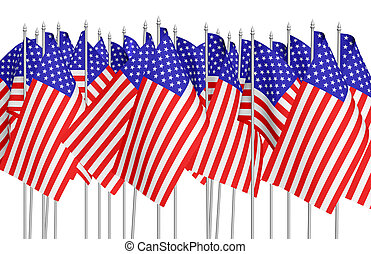 Many small american flags in row isolated on white - Many...