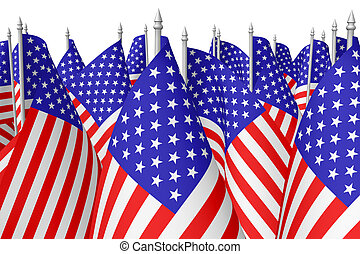Many small american flags isolated on white closeup - Many...