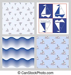 Many small colored sail boats on white background. Set