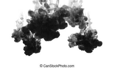 many small injections of black ink are made into the water, after which they dissolve forming beautiful black clouds on a white background. as an alpha channel use luma matte