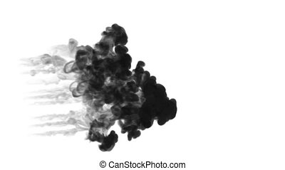 many small injections of black ink are made into the water at the same time, after which they dissolve forming beautiful black clouds on a white background. as an alpha channel use luma matte