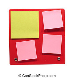 Many small post-it on red boardtable close-up