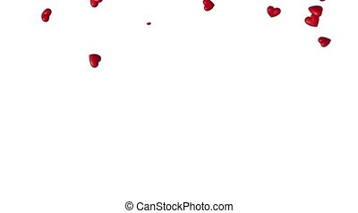 Many small red chubby Hearts flying up and disappearing