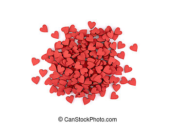 Many small red hearts on white background