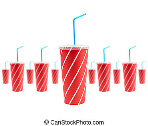 Many soda drinks with blue straw, isolated on white ...