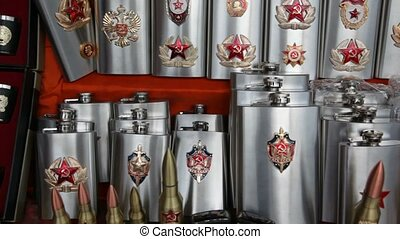 Many souvenir bullets and flasks with Soviet and Russian...