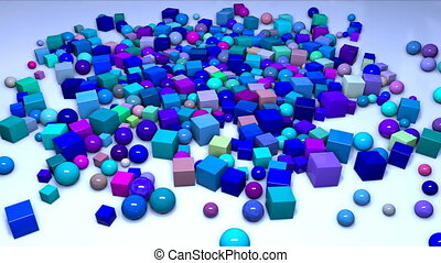 many spheres and cubes fall from above into the frame on the plane and fly along it. Interesting 3d composition of simple geometric objects, 4k looped smooth animation. Shades of blue 1
