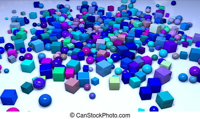 many spheres and cubes fall from above into the frame on the plane and fly along it. Interesting 3d composition of simple geometric objects, 4k looped smooth animation. Shades of blue