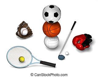 Many sports elements - Tennis, golf, soccerball, basketball,...