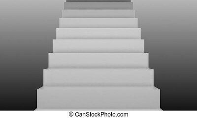 Many stairs, 3d rendering backdrop with staircases, computer...