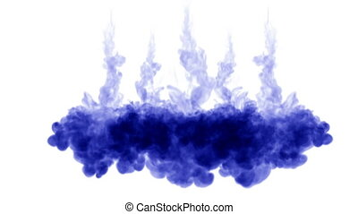 many streams of dark blue ink on a white background dissolve...