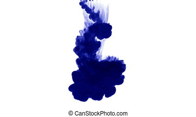 many streams of deep blue ink on a white background dissolve sequentially in water from top to bottom. Side view. The alpha channel is matte brightness. 2