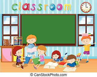 Many students reading book in the classroom