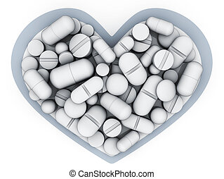 Many tablets and vitamin in shape heart