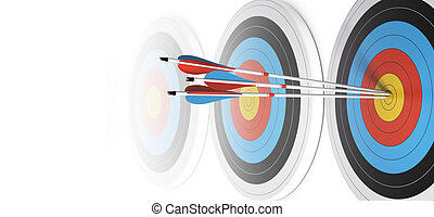 Many targets in a row, three arrows hits the first one in the center, over white, image fading to white at the background.