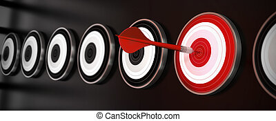 many targets over a black background with reflection, a red dart hit the center of one red target, horizontal banner style