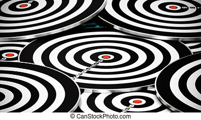 many targets with no dart in the center - image is red and black