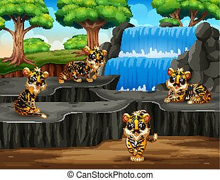 Many tigers cartoon on waterfall background