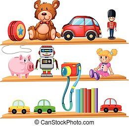 Many toys and books on wooden shelves illustration
