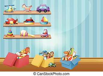 Many toys on the shelves and floor