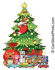 Many toys under Christmas tree illustration