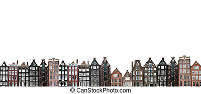 Many traditional houses in Amsterdam isolated on white background.