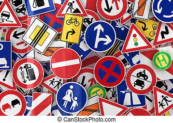 Many Traffic Signs - Many european traffic signs mixed...