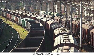 Many train wagons.