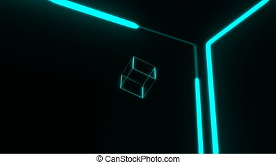 Many transparent neon cubes rotating in space, 3d render background, computer generating