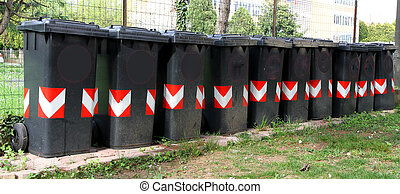 many trash bins for separate waste collection 4