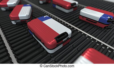 Many travel suitcases featuring flag of Chile on roller conveyer. Chilean tourism conceptual 3D rendering