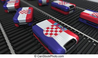 Many travel suitcases featuring flag of Croatia. Croatian...