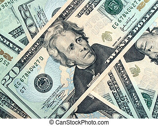 many twenties - American $20 bills