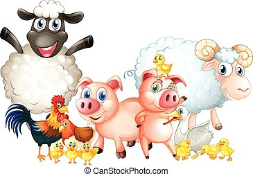 Many types of farm animals