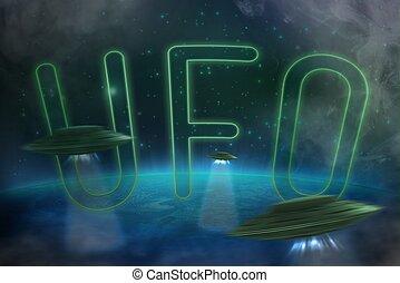 ufo with a luminous beam - many ufo with a luminous beam...
