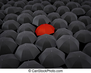 Many umbrellas black and only one red