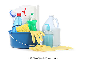 Many Useful Household Daily Cleaning Products on White...