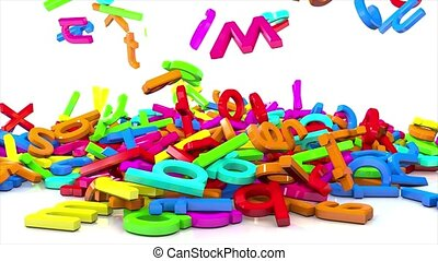 Many varicoloured letters falling on white mirrow background...