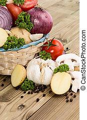 Many Vegetables in a basket