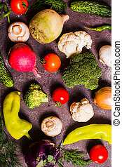 Many vegetables laid out on the table