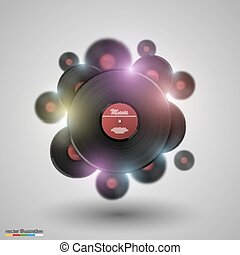 Many vinyl disk. Vector
