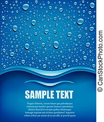 many water drops on blue background with place for text