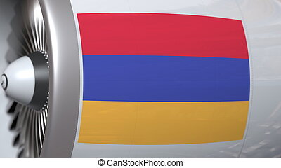 Many waving flag of Armenia on airliner tourbine engine. Aviation related 3D rendering