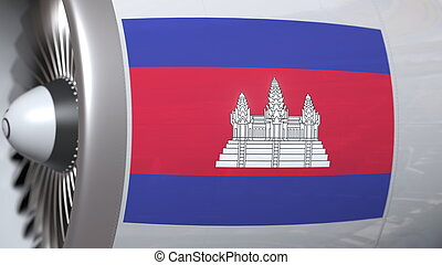 Many waving flag of Cambodia on airplane tourbine engine. Aviation related 3D rendering