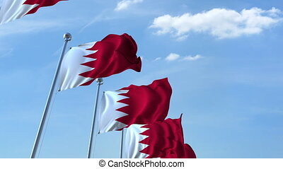 Many waving flags of Bahrain. Loopable 3D animation - Row of...
